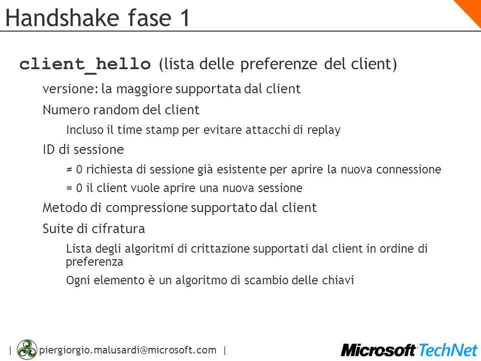 Handshake fase 1 client_hello (lista delle preferenze del client)