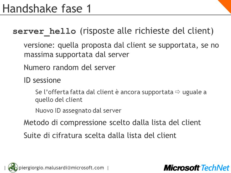 Handshake fase 1 server_hello (risposte alle richieste del client)