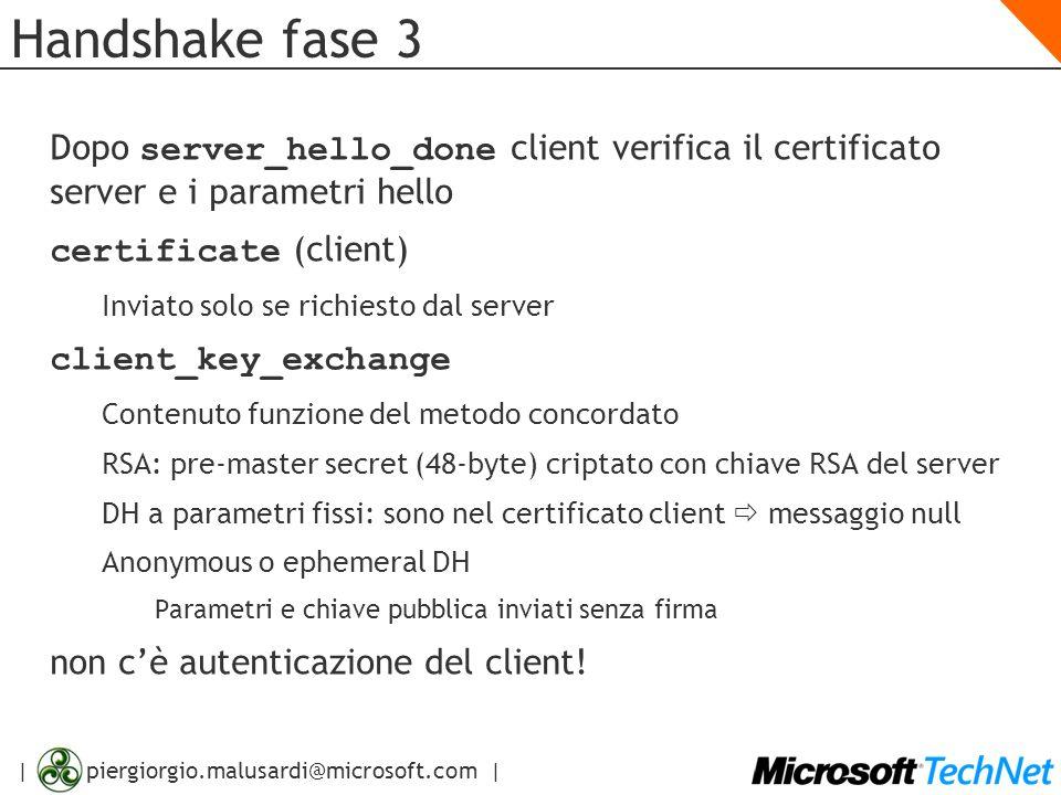 Handshake fase 3Dopo server_hello_done client verifica il certificato server e i parametri hello. certificate (client)