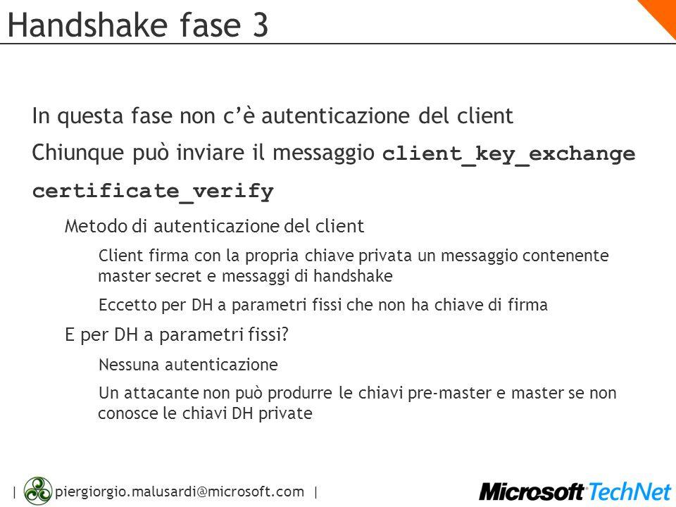 Handshake fase 3 In questa fase non c'è autenticazione del client