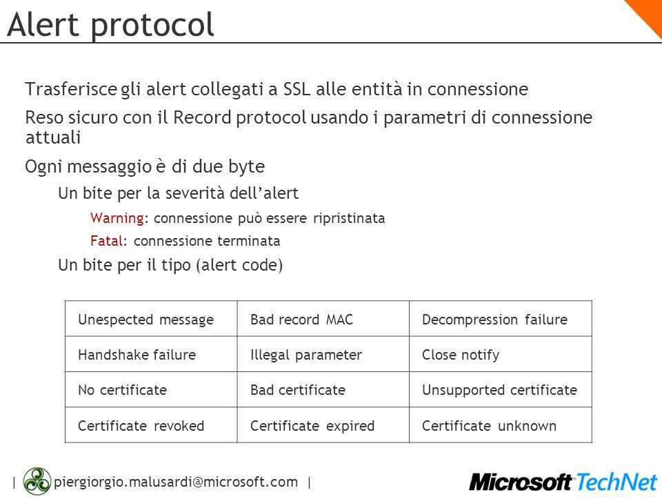 Alert protocolTrasferisce gli alert collegati a SSL alle entità in connessione.