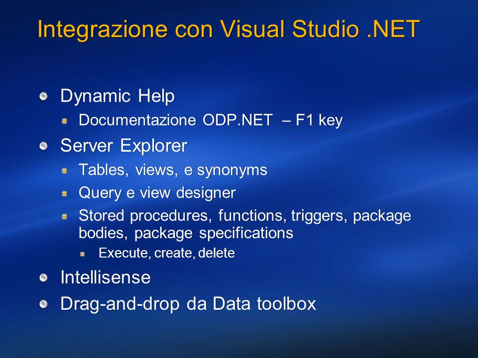 Integrazione con Visual Studio .NET