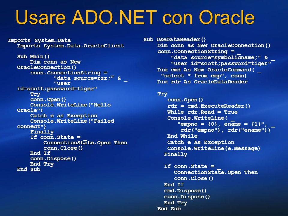 Usare ADO.NET con Oracle