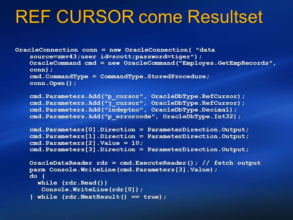 REF CURSOR come Resultset