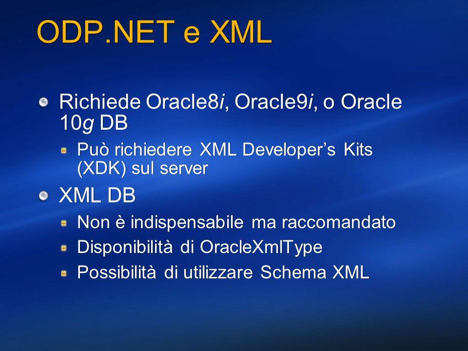 ODP.NET e XML Richiede Oracle8i, Oracle9i, o Oracle 10g DB XML DB