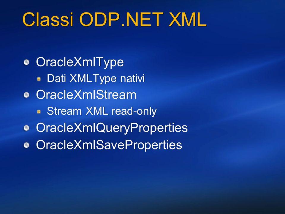 Classi ODP.NET XML OracleXmlType OracleXmlStream