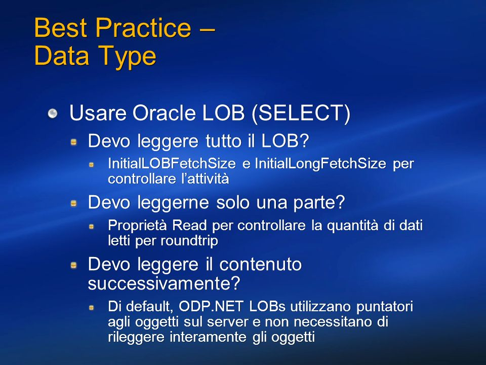 Best Practice – Data Type