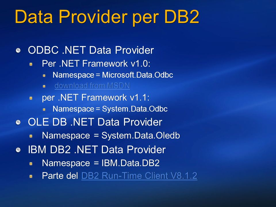 Data Provider per DB2 ODBC .NET Data Provider