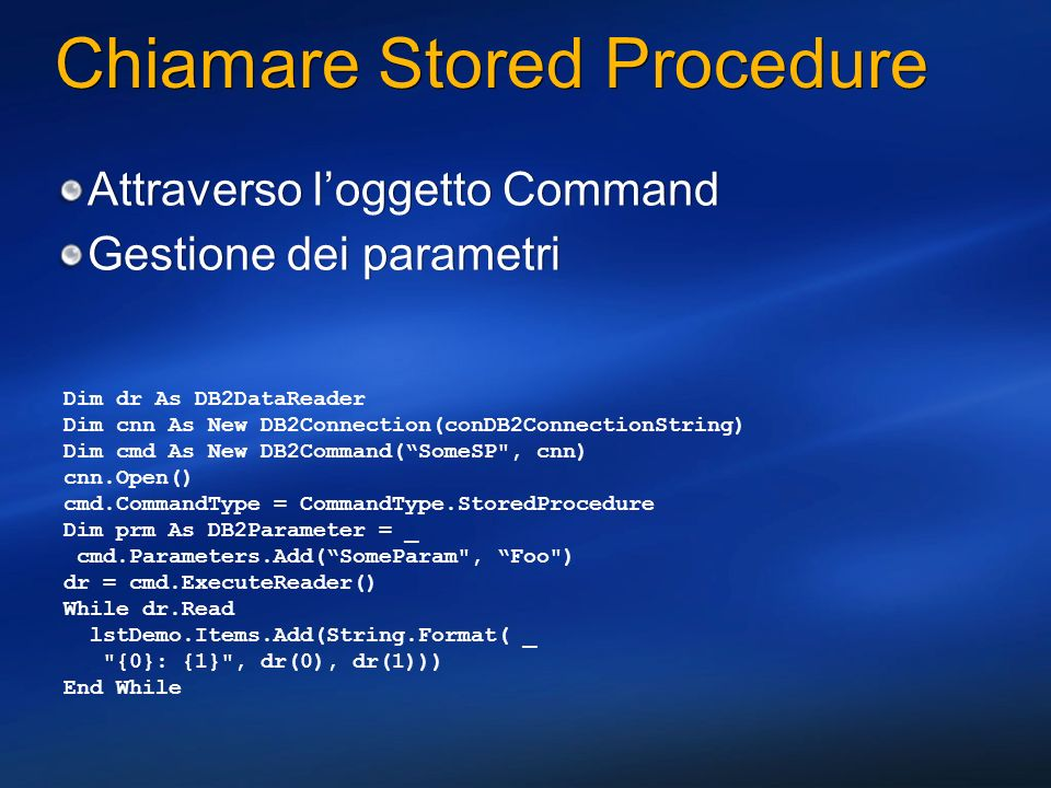 Chiamare Stored Procedure