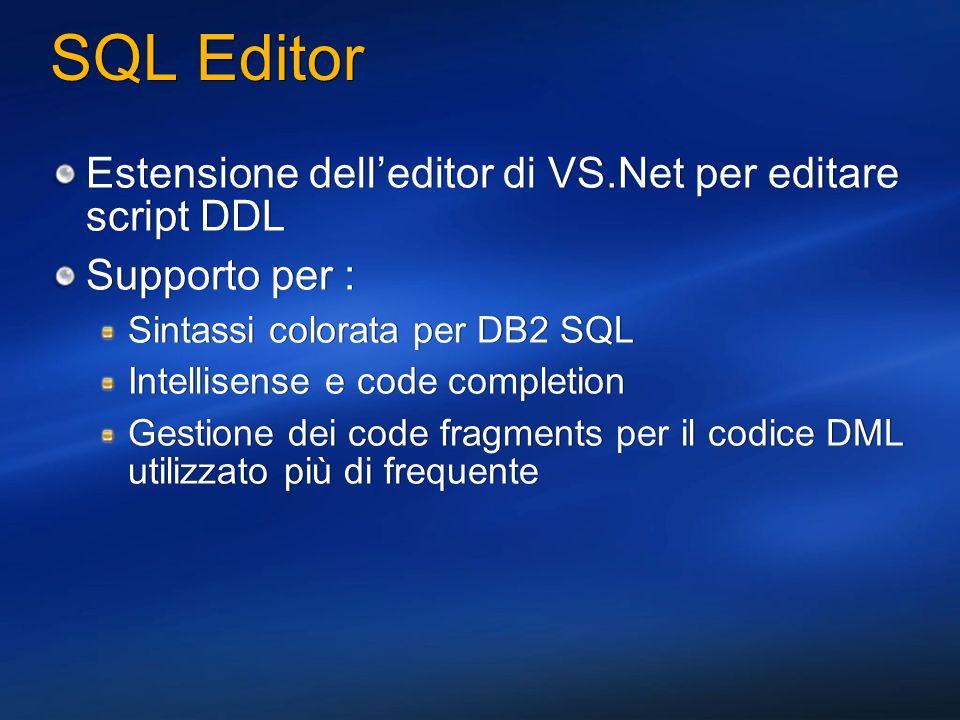 SQL Editor Estensione dell'editor di VS.Net per editare script DDL