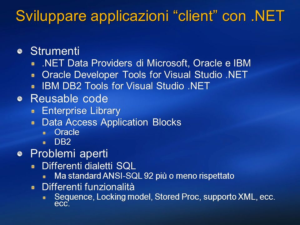 Sviluppare applicazioni client con .NET