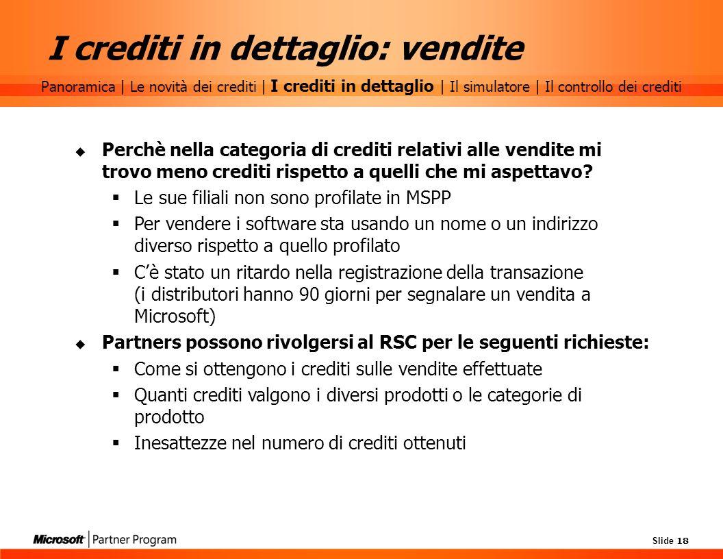 I crediti in dettaglio: vendite