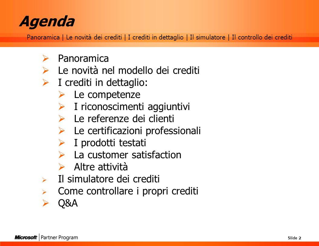 Agenda Panoramica Le novità nel modello dei crediti