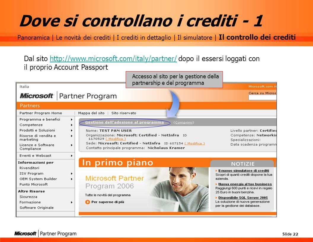 Dove si controllano i crediti - 1