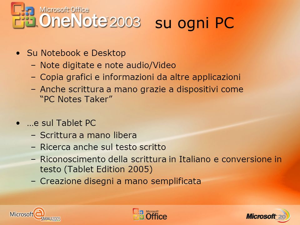 su ogni PC Su Notebook e Desktop Note digitate e note audio/Video