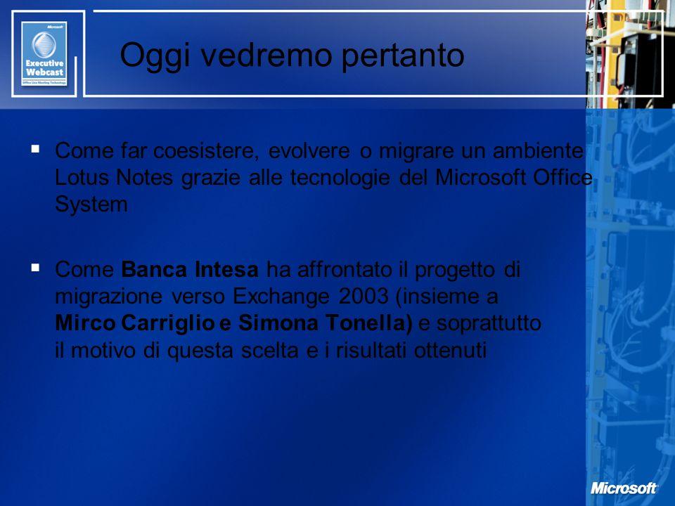 Oggi vedremo pertanto Come far coesistere, evolvere o migrare un ambiente Lotus Notes grazie alle tecnologie del Microsoft Office System.