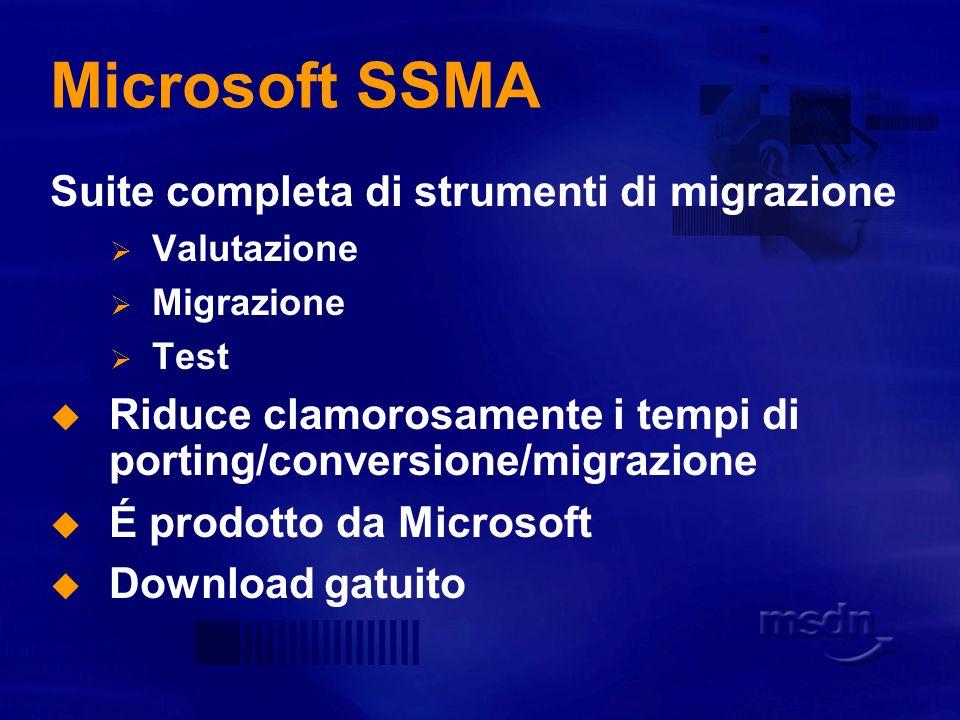 Microsoft SSMA Suite completa di strumenti di migrazione