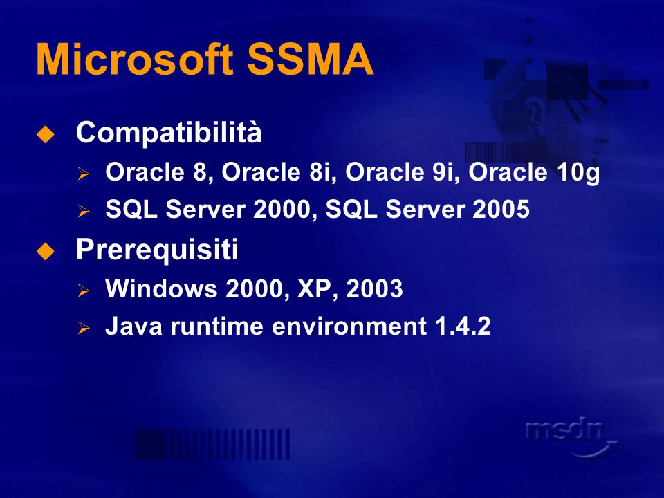 Microsoft SSMA Compatibilità Prerequisiti