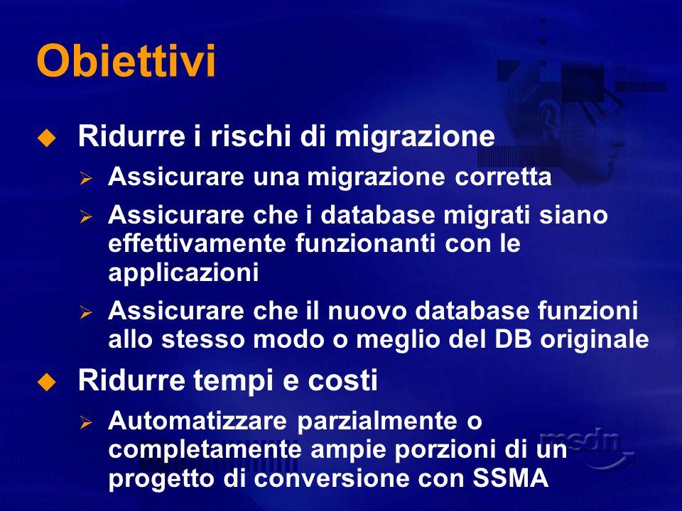 Obiettivi Ridurre i rischi di migrazione Ridurre tempi e costi