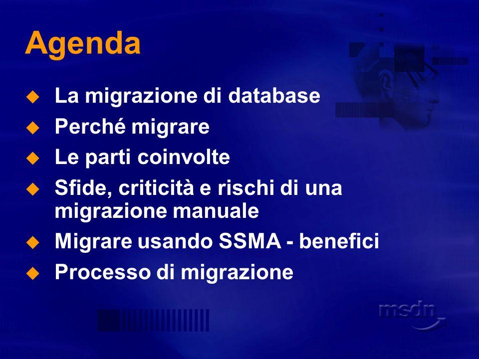 Agenda La migrazione di database Perché migrare Le parti coinvolte
