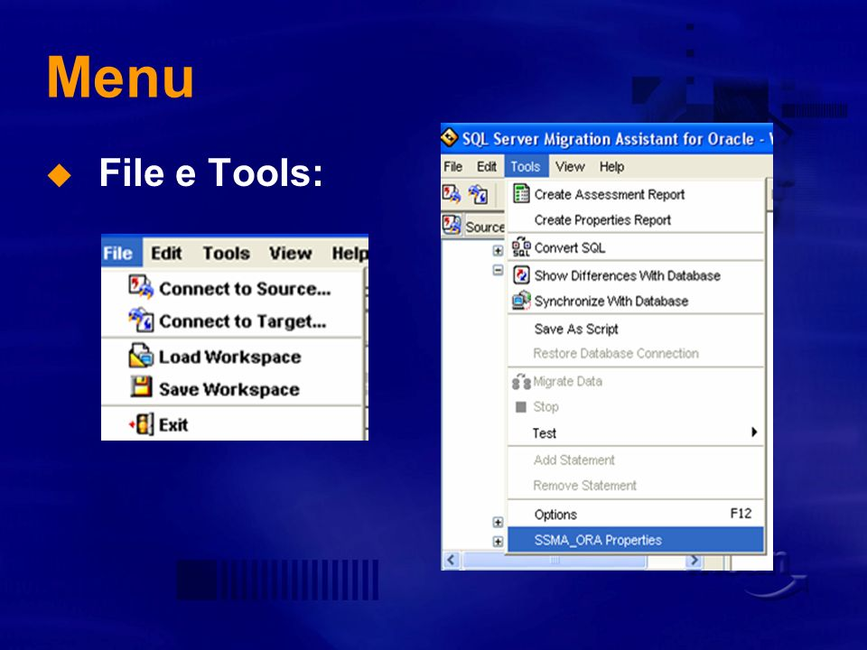 Menu File e Tools: Migration Day Roma 5 dic 2005