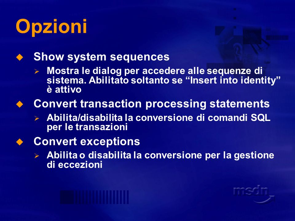 Opzioni Show system sequences