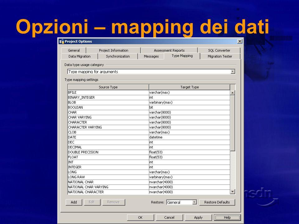Opzioni – mapping dei dati