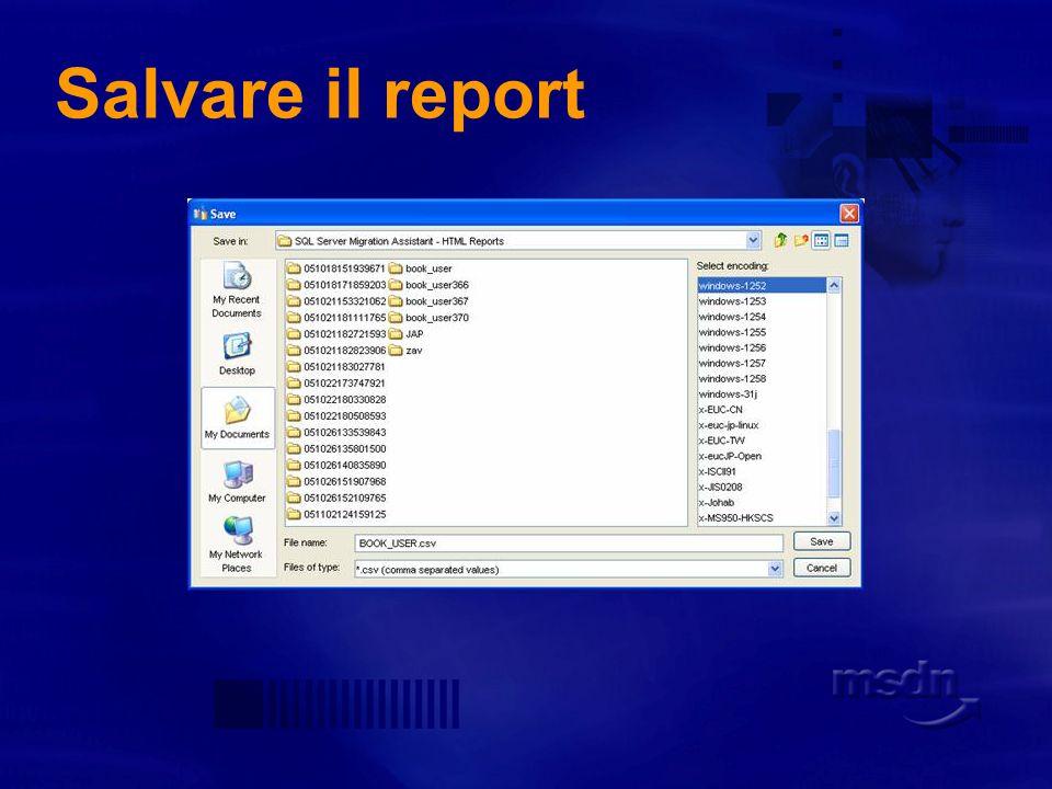 Salvare il report