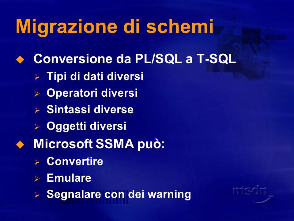 Migrazione di schemi Conversione da PL/SQL a T-SQL Microsoft SSMA può: