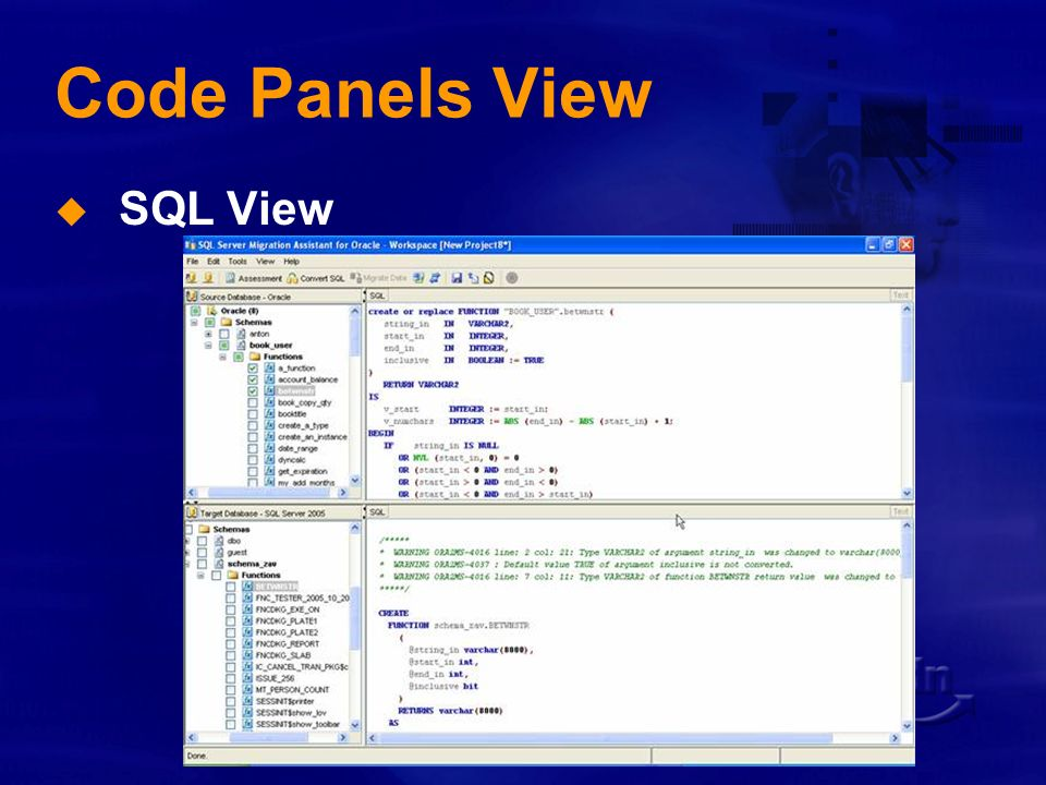 Code Panels View SQL View