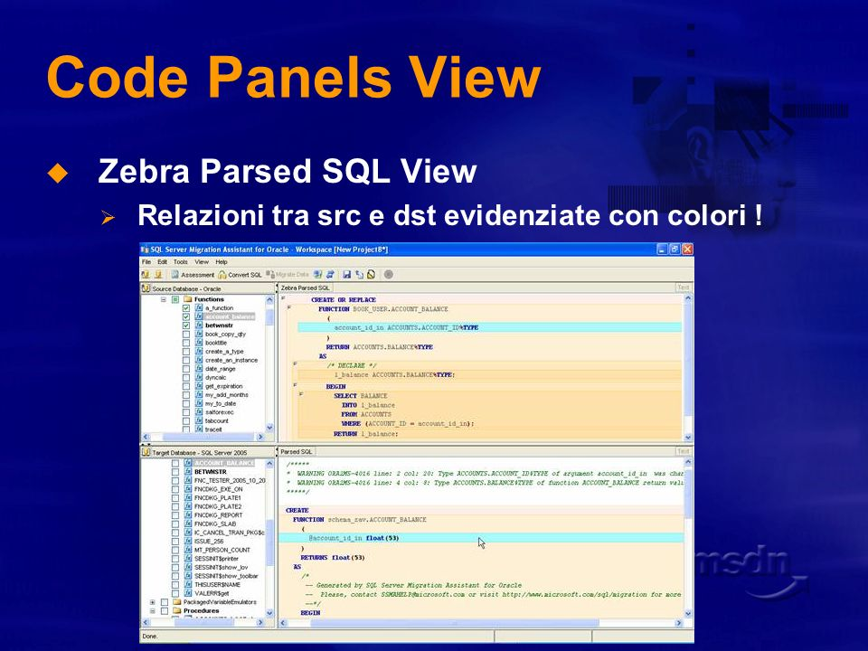 Code Panels View Zebra Parsed SQL View