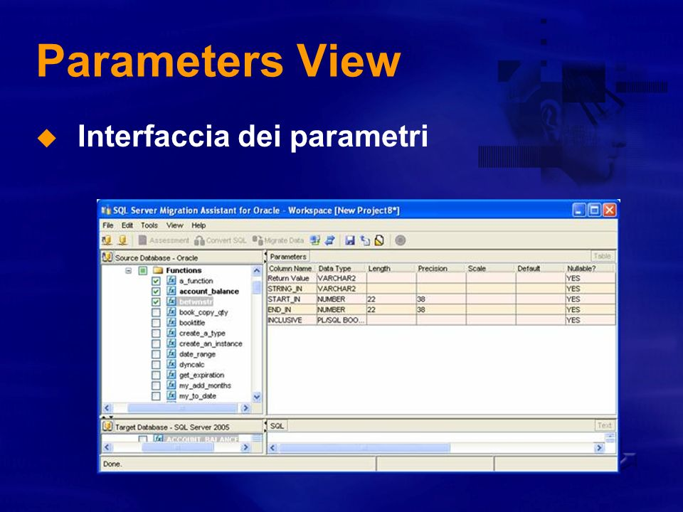 Parameters View Interfaccia dei parametri
