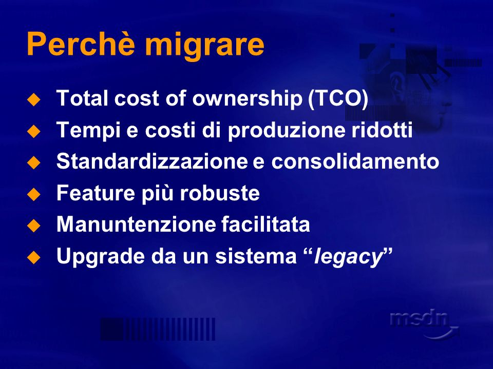 Perchè migrare Total cost of ownership (TCO)