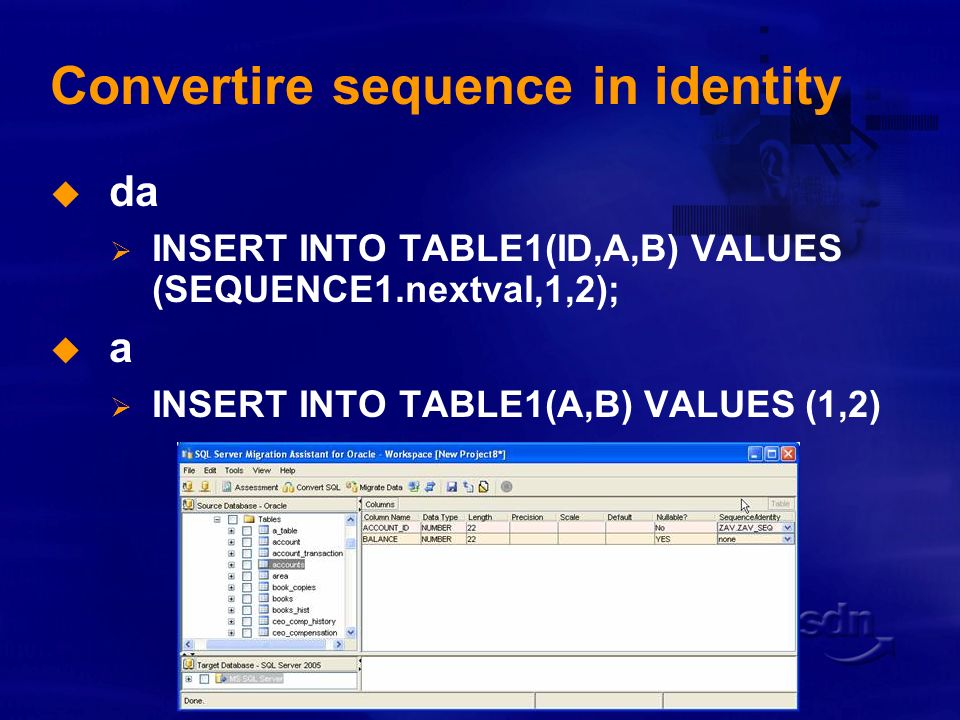 Convertire sequence in identity