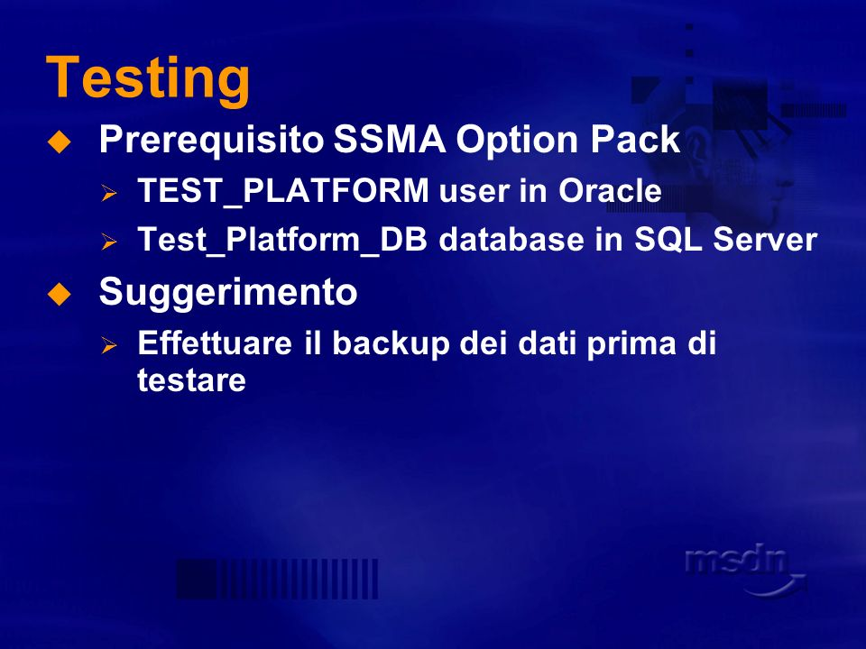 Testing Prerequisito SSMA Option Pack Suggerimento