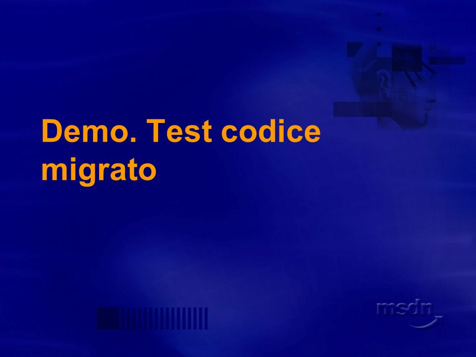 Demo. Test codice migrato