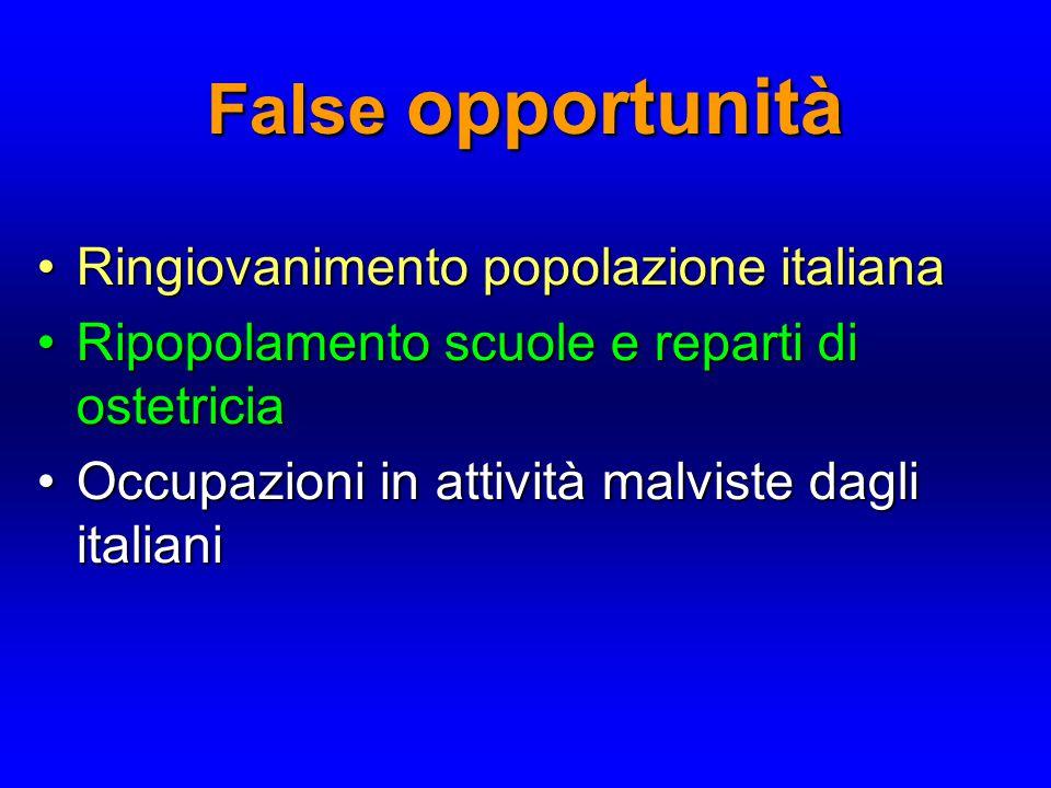 False opportunità Ringiovanimento popolazione italiana