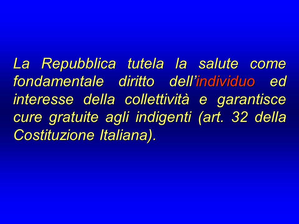 La Repubblica tutela la salute come fondamentale diritto dell'individuo ed interesse della collettività e garantisce cure gratuite agli indigenti (art.