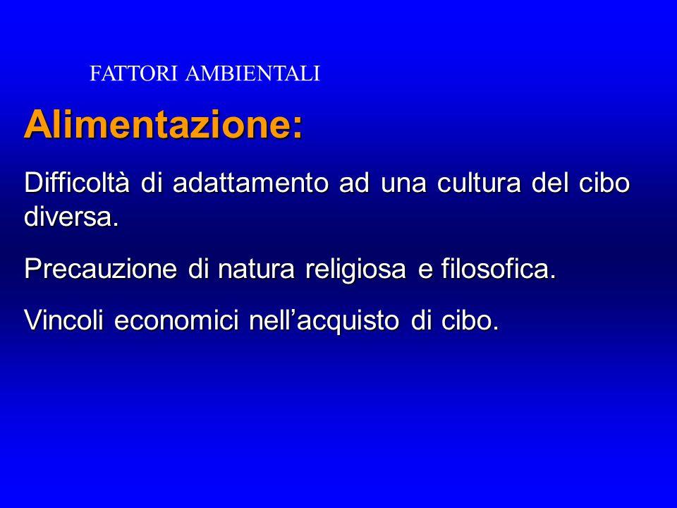 FATTORI AMBIENTALI Alimentazione: Difficoltà di adattamento ad una cultura del cibo diversa. Precauzione di natura religiosa e filosofica.
