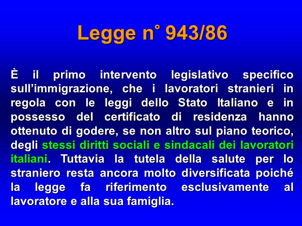 Legge n° 943/86