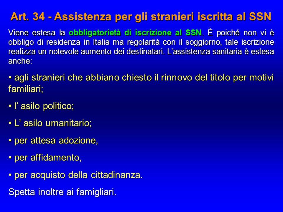 Art. 34 - Assistenza per gli stranieri iscritta al SSN