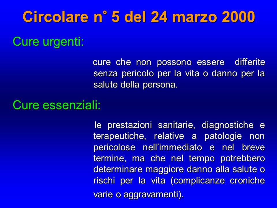 Circolare n° 5 del 24 marzo 2000 Cure urgenti: Cure essenziali: