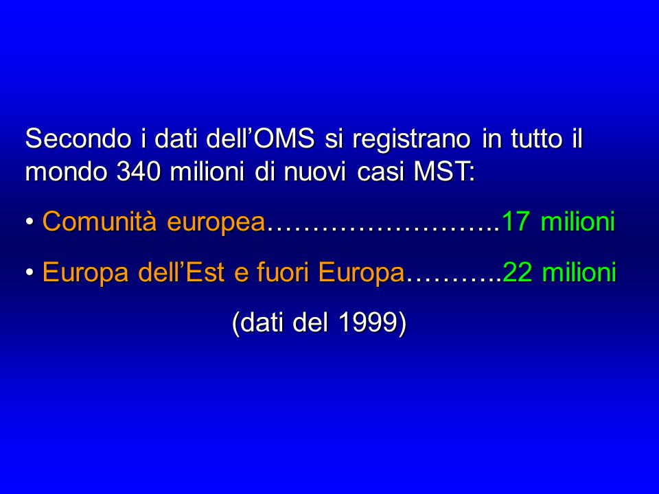 Secondo i dati dell'OMS si registrano in tutto il mondo 340 milioni di nuovi casi MST: