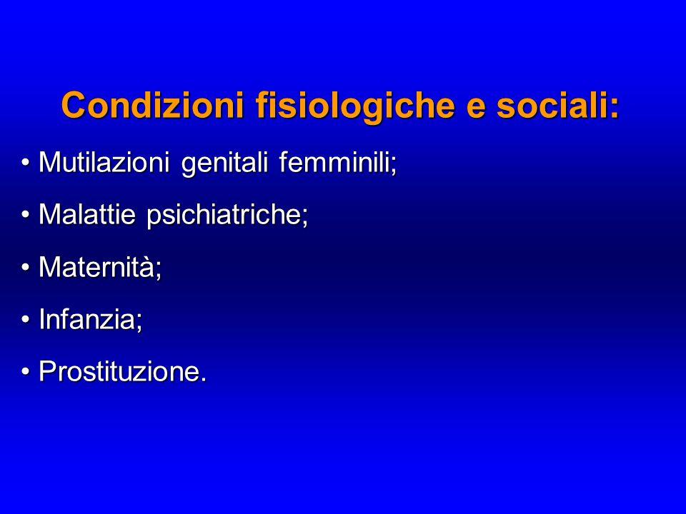 Condizioni fisiologiche e sociali: