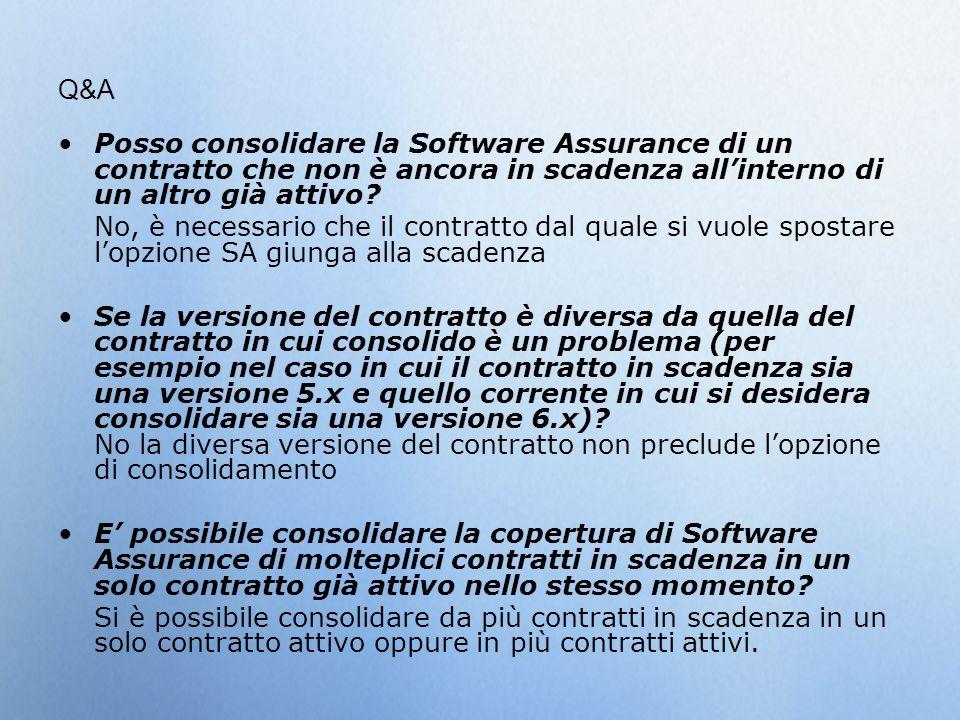 Q&A Posso consolidare la Software Assurance di un contratto che non è ancora in scadenza all'interno di un altro già attivo