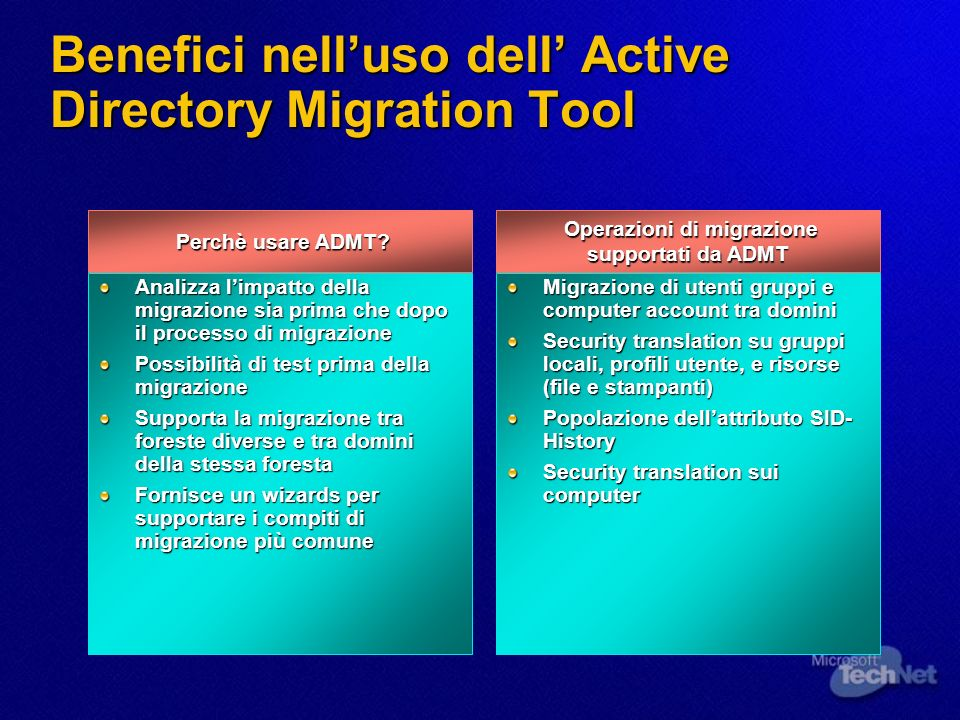Benefici nell'uso dell' Active Directory Migration Tool