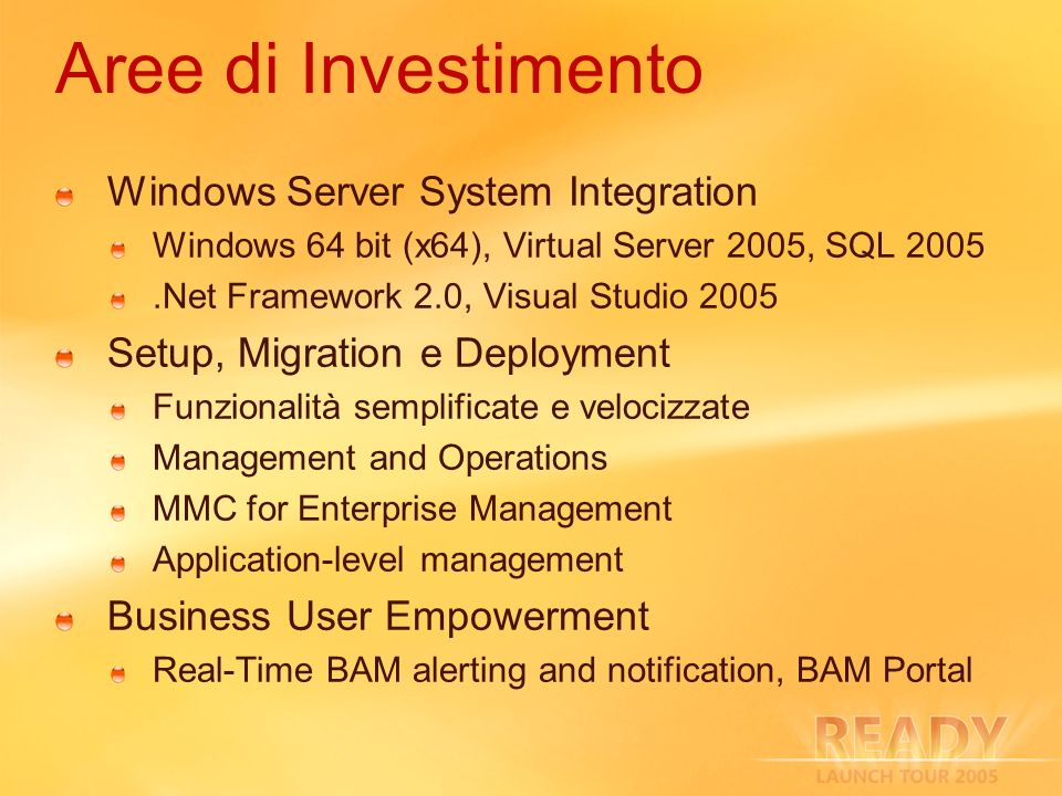 Aree di Investimento Windows Server System Integration