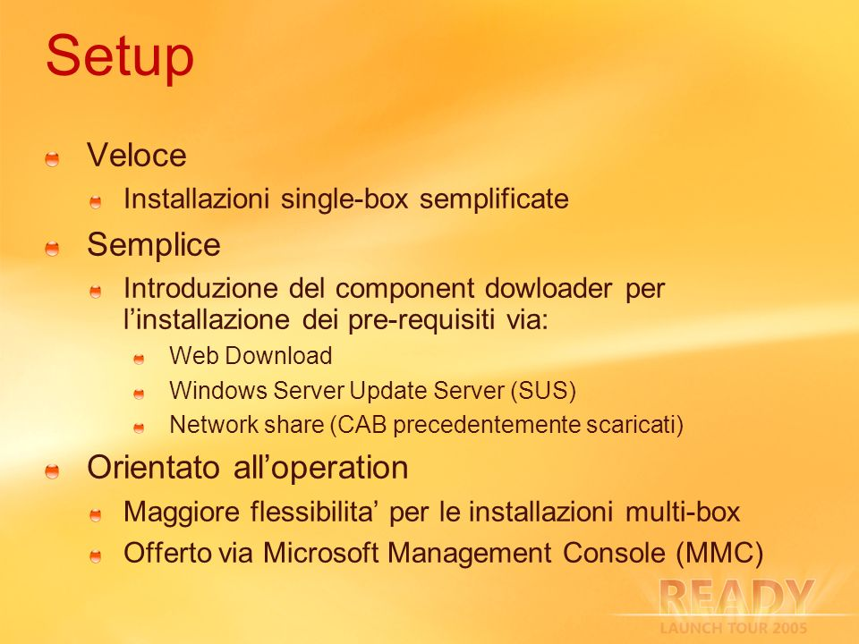Setup Veloce Semplice Orientato all'operation