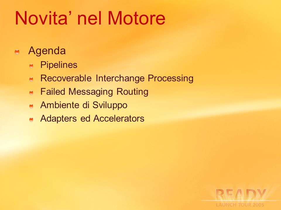 Novita' nel Motore Agenda Pipelines Recoverable Interchange Processing
