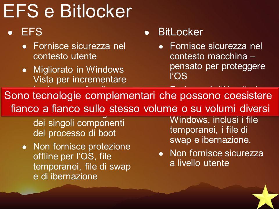 EFS e Bitlocker EFS BitLocker